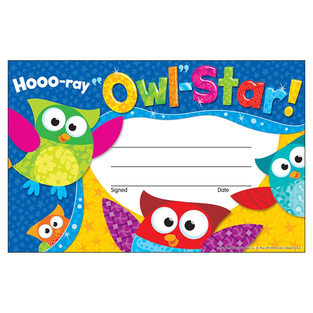 T-81046 - Hooo Ray Owl Star Recognition Awards in Awards