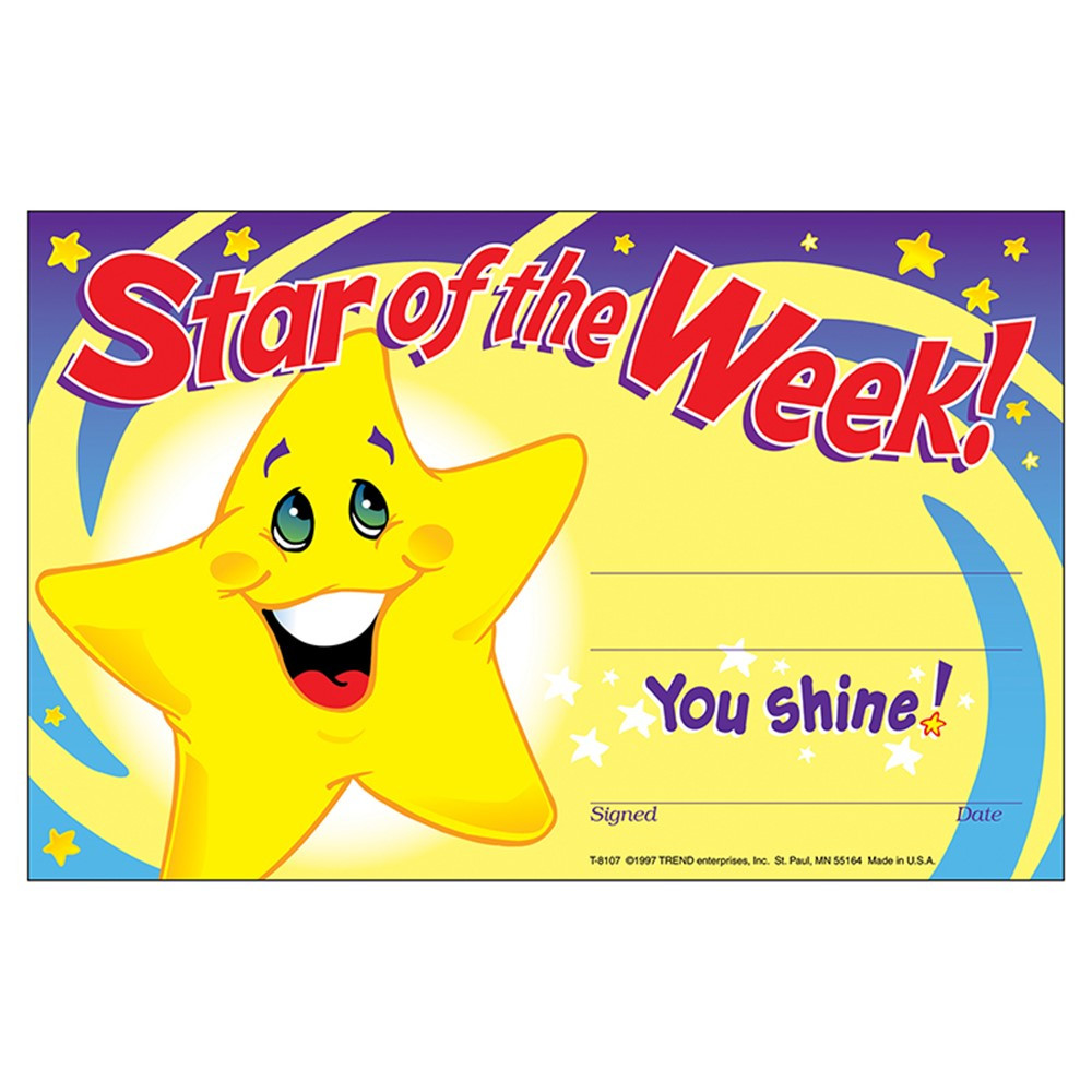 T-8107 - Awards Star Of The Week 30/Pk 5X8 in Awards