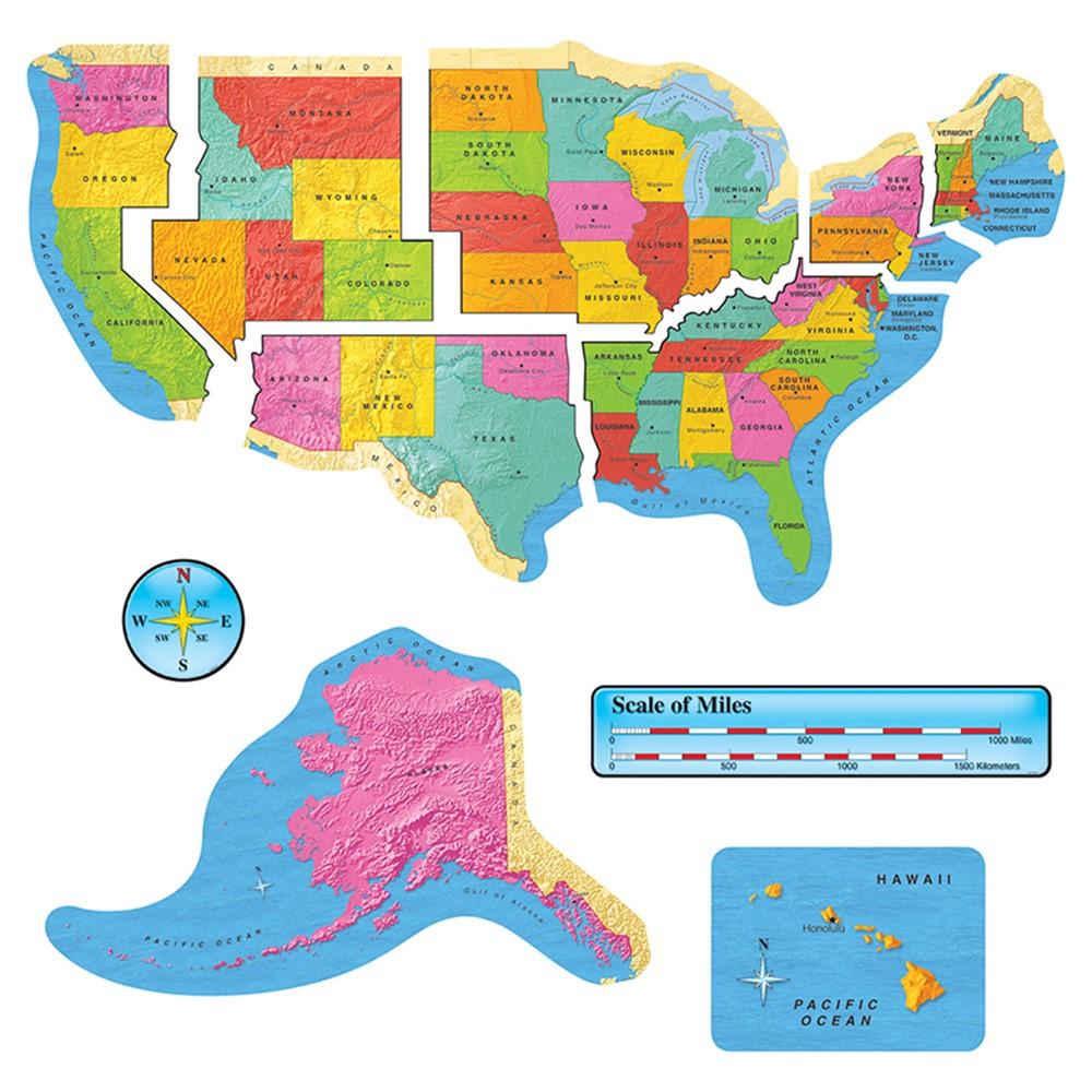 T-8160 - Us Map Bulletin Board Set 46In Wide Gr 1-8 in Social Studies
