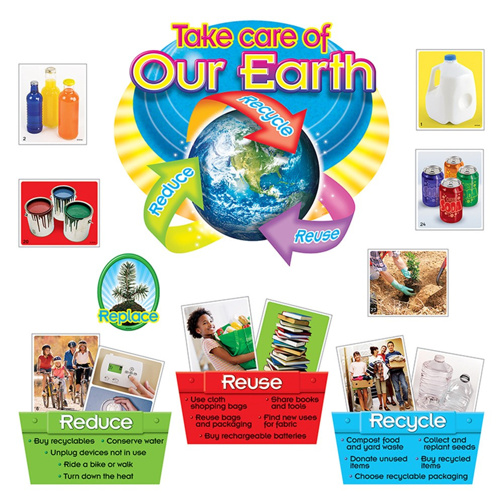 T-8262 - Reduce Reuse Recycle Bulletin Board Set in Science