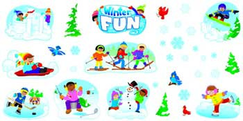 T-8263 - Winter Play Bulletin Board Set in Holiday/seasonal