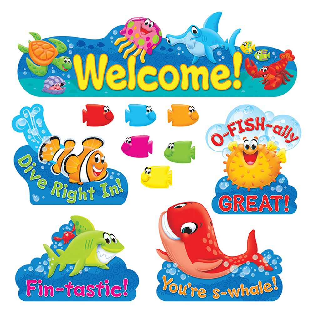 Classroom Decorations Bulletin Board Set ~ Sea buddies welcome bulletin board set t trend