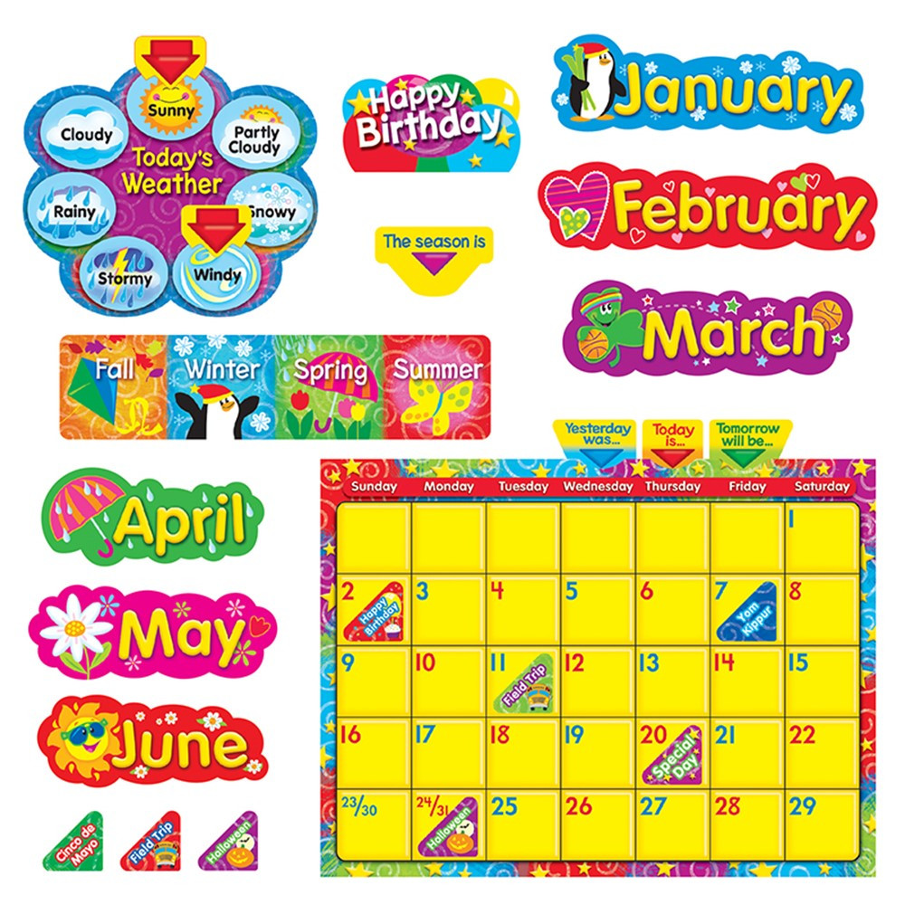 Classroom Calendar Bulletin Board Set : Wipe off stars n swirls calendar cling bulletin board