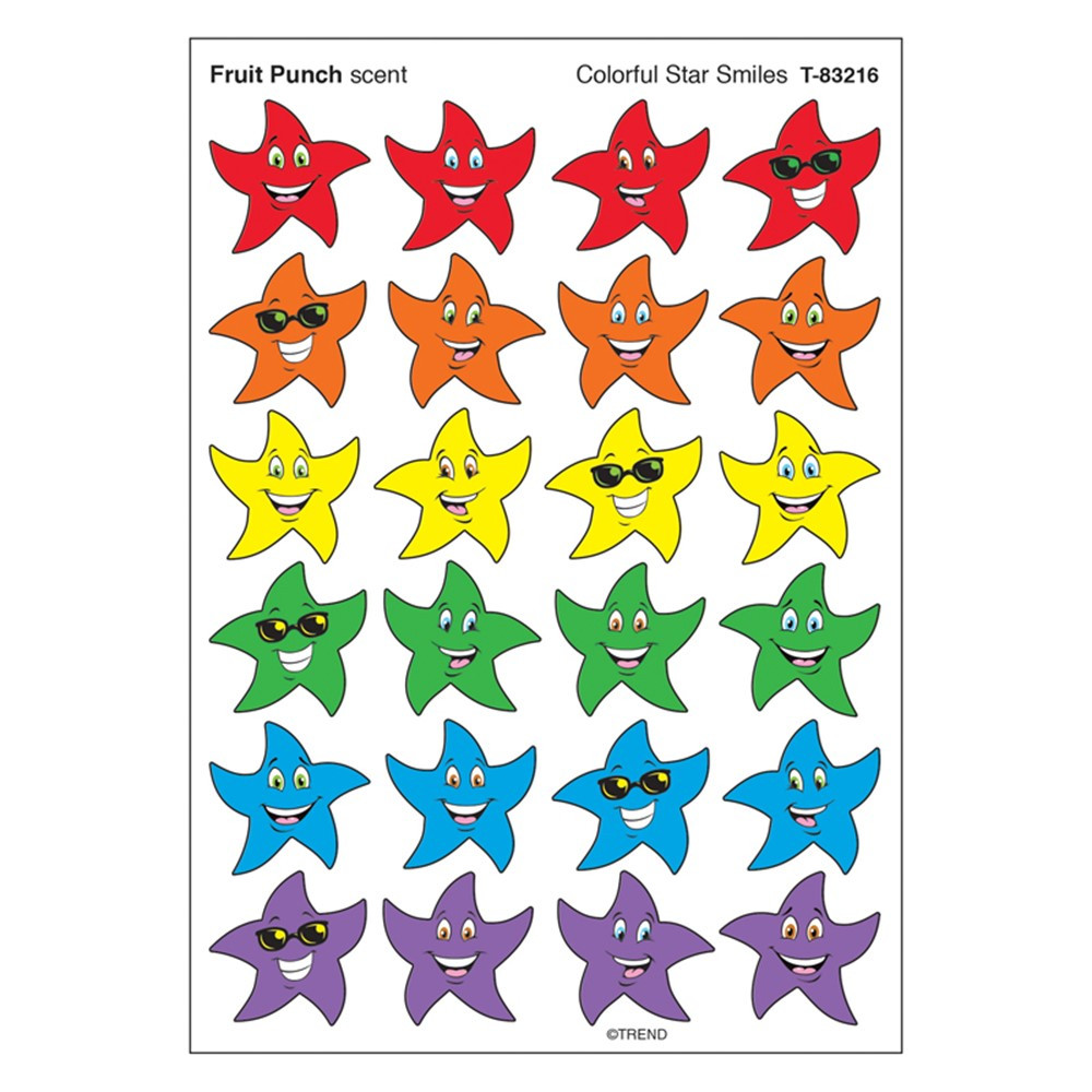 T-83216 - Stinky Stickers Colorful Star Smile in Stickers