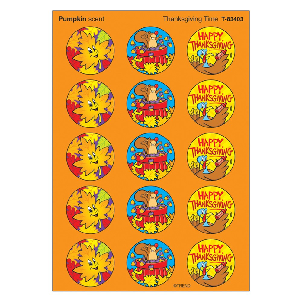 T-83403 - Stinky Stickers Thanksgiving 60/Pk Time Acid-Free Pumpkin in Holiday/seasonal
