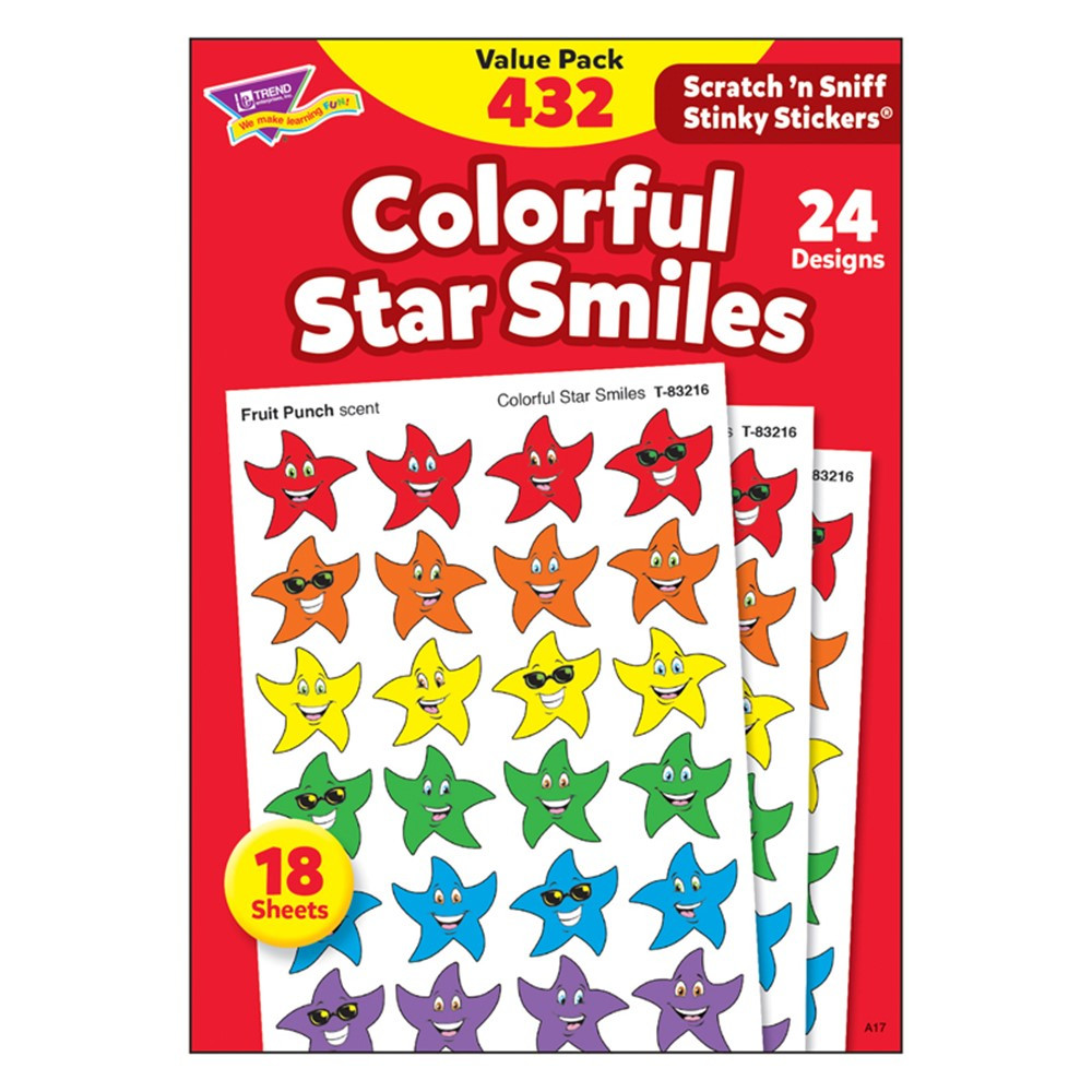 T-83904 - Stinky Stickers Smiley Stars 432/Pk Variety Acid-Free Pk in Stickers
