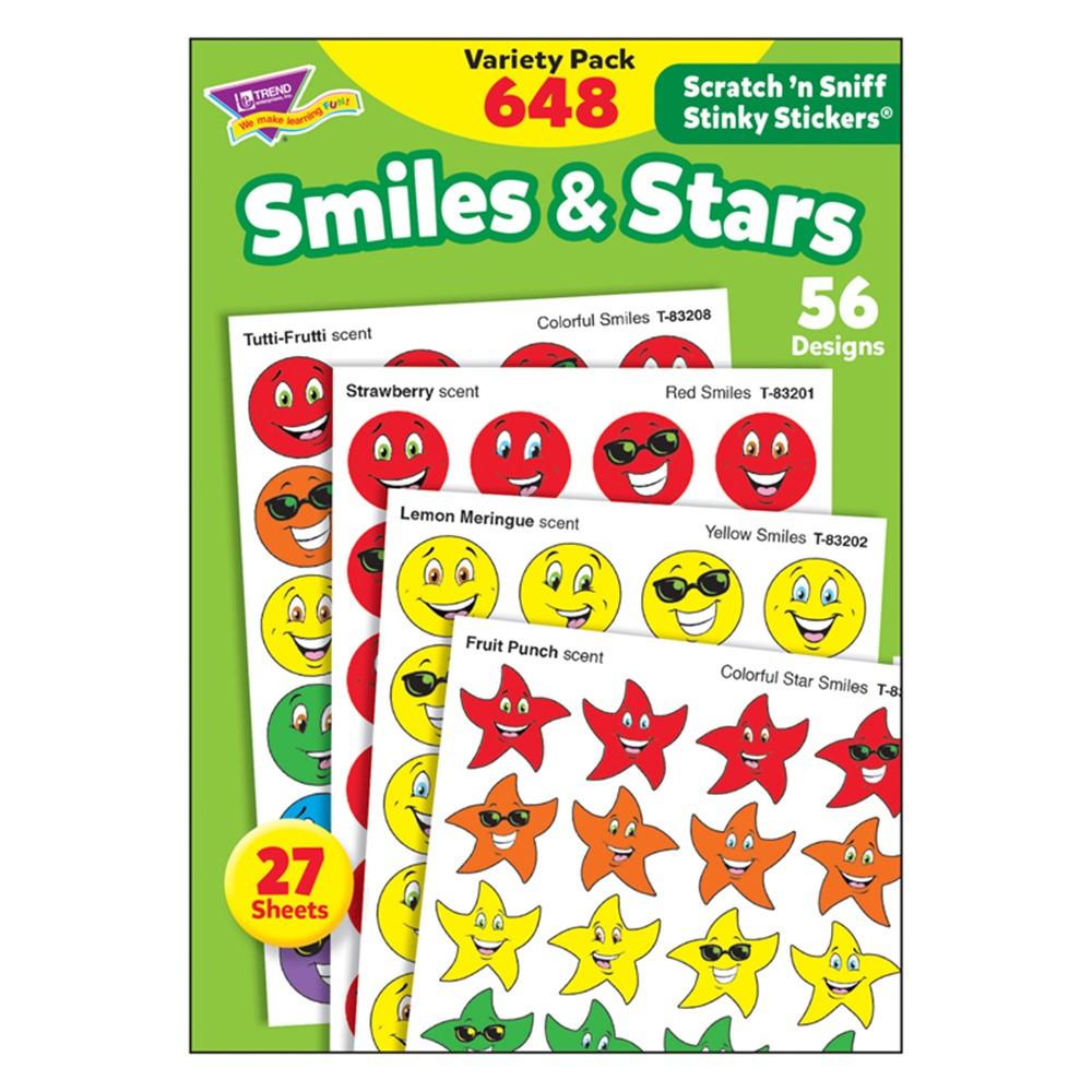 T-83905 - Stinky Stickers Smiles Stars 648/Pk Jumbo Acid-Free Variety Pk in Stickers