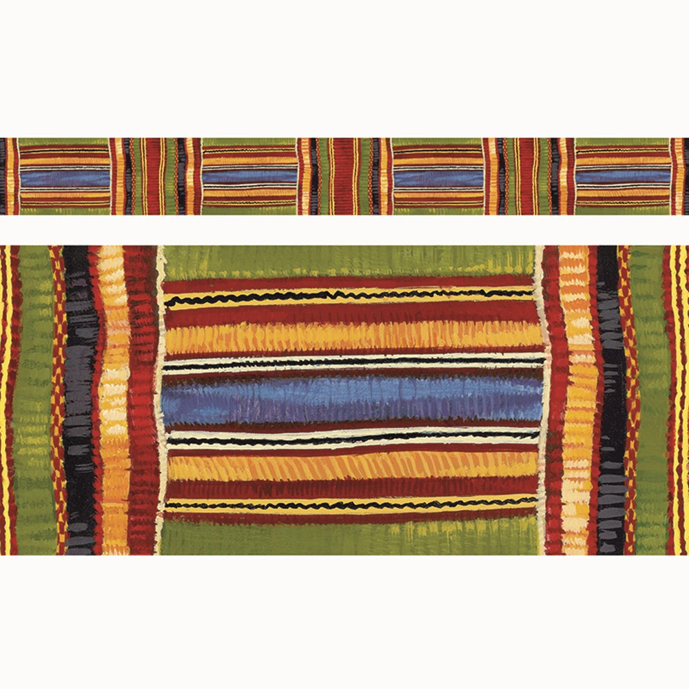 T-85092 - Kente Cloth Borders Straight Edge 11/Pk 2.75 X 35.75 Total in Border/trimmer