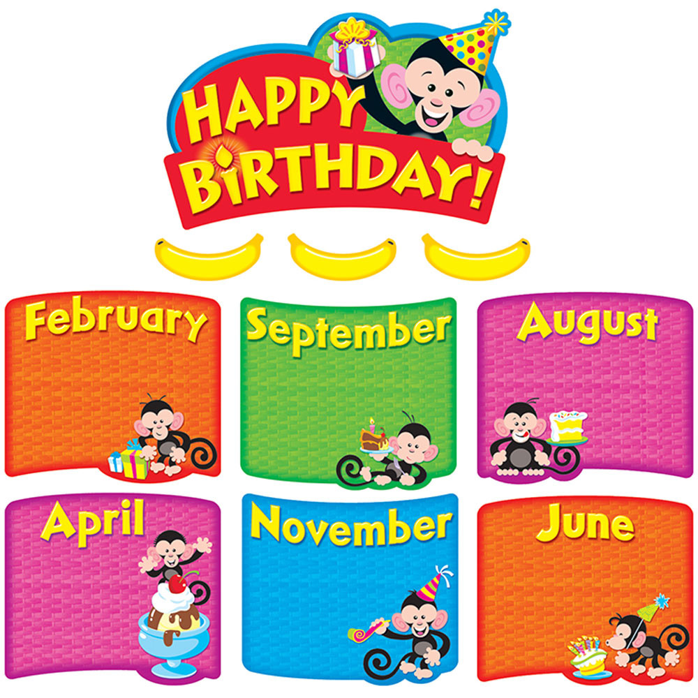 T-8746 - Monkey Mischief Birthday Bunch Mini Bulletin Board Set in Classroom Theme