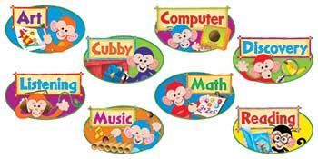 T-8748 - Monkey Mischief Primary Center Signs Mini Bulletin Board Set in Classroom Theme