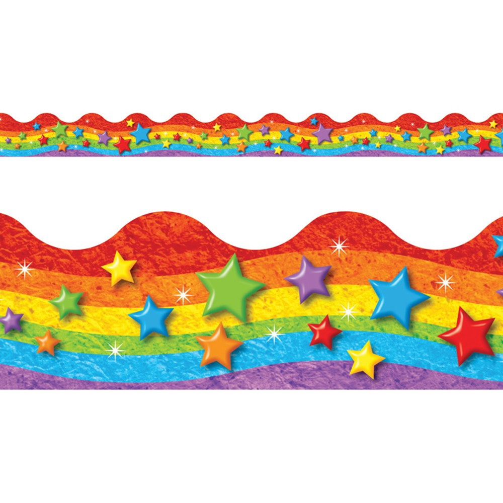 T-92332 - Rainbow & Stars Trimmers Scalloped Edge 12/Pk 2.25 X 39 Total in Border/trimmer