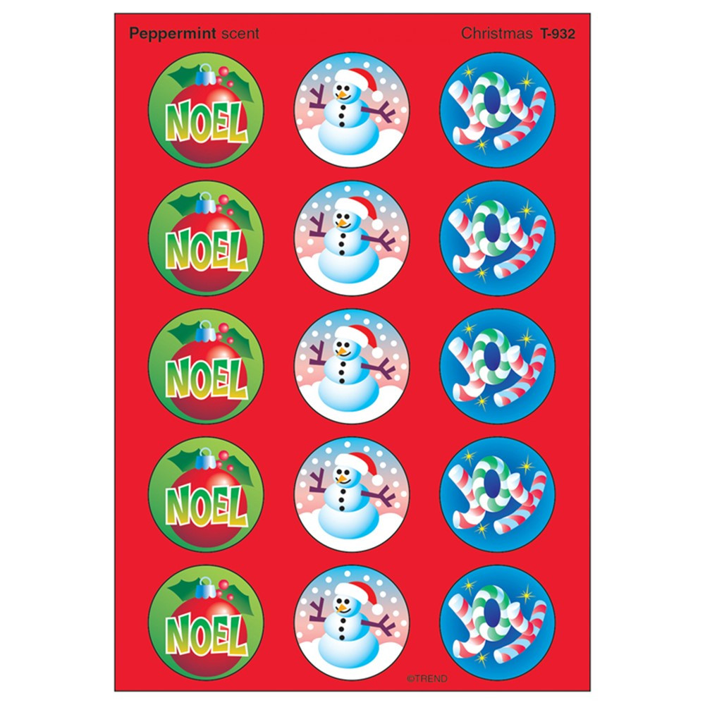T-932 - Stinky Stickers Christmas 60/Pk Acid-Free Peppermint in Holiday/seasonal