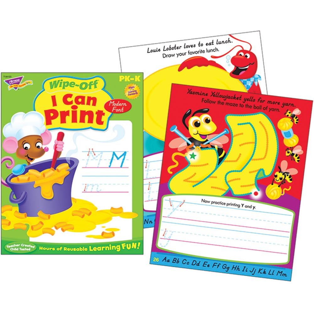 T-94123 - I Can Print-Modern 28Pg Wipe-Off Books in Language Arts