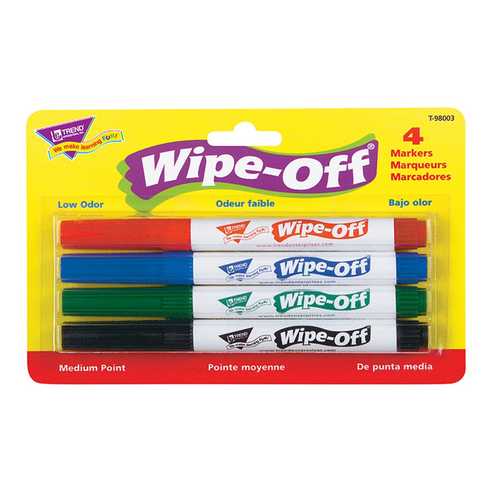 T-98003 - Wipe Off Marker 4 Standard Colors in Markers