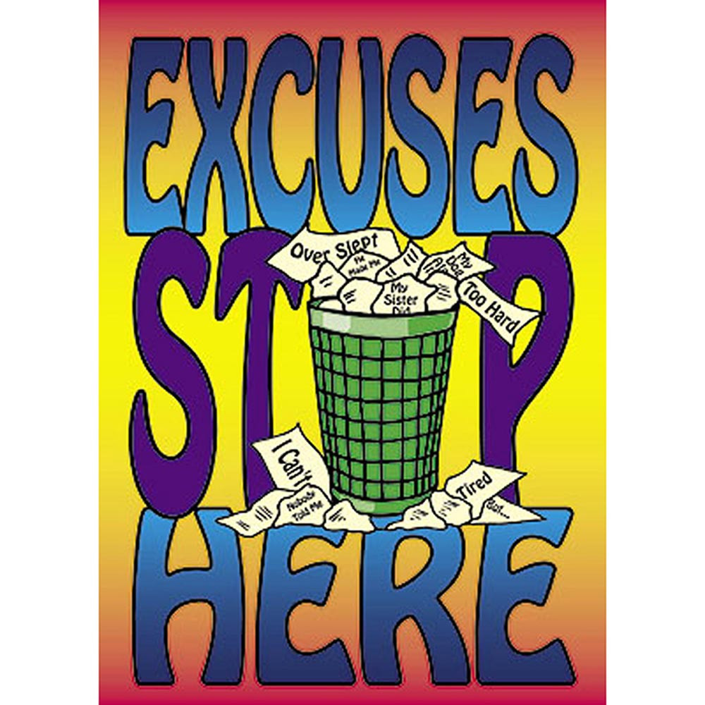 T-A63248 - Poster Excuses Stop Here in Motivational