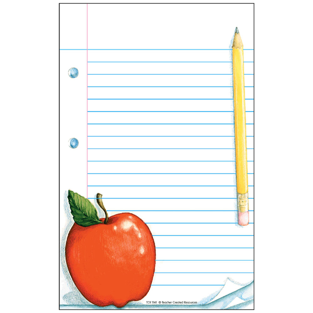 TCR1141 - Notepad W/ Apple 50Sht 5X8 in Note Pads