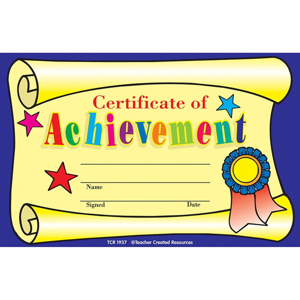 TCR1937 - Certificate Of Achievement 25Pk 8-1/2 X 5-1/2 in Awards