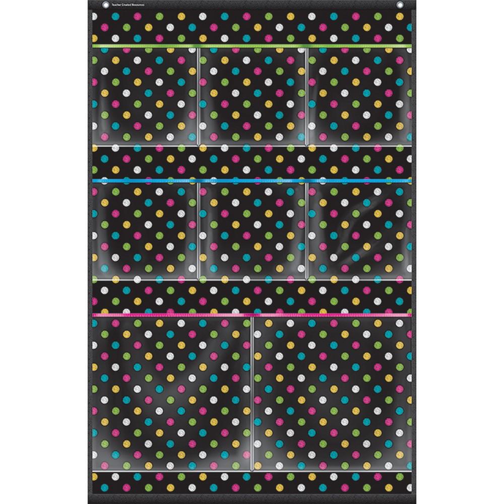 TCR20782 - Chalkboard Brights 8 Pocket Storage Pocket Chart Small 15X23 in Pocket Charts