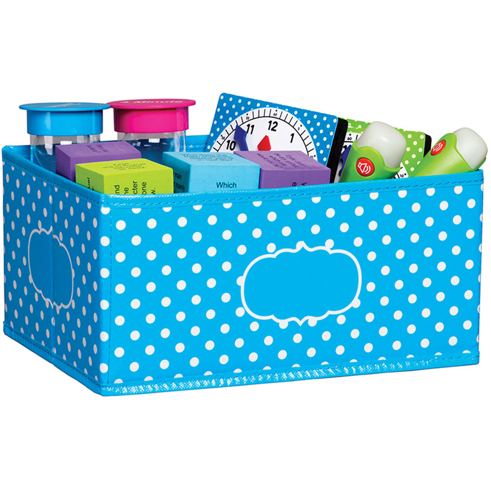 TCR20815 - Small Aqua Polka Dots Storage Bin in Storage Containers