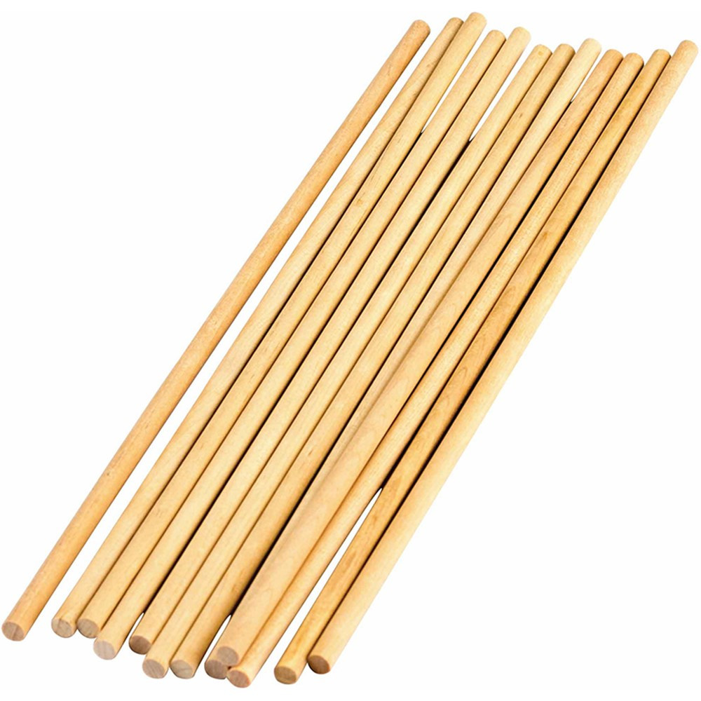 TCR20927 - Stem Basics 1/4In Wood Dowels 12 Ct in Wooden Shapes