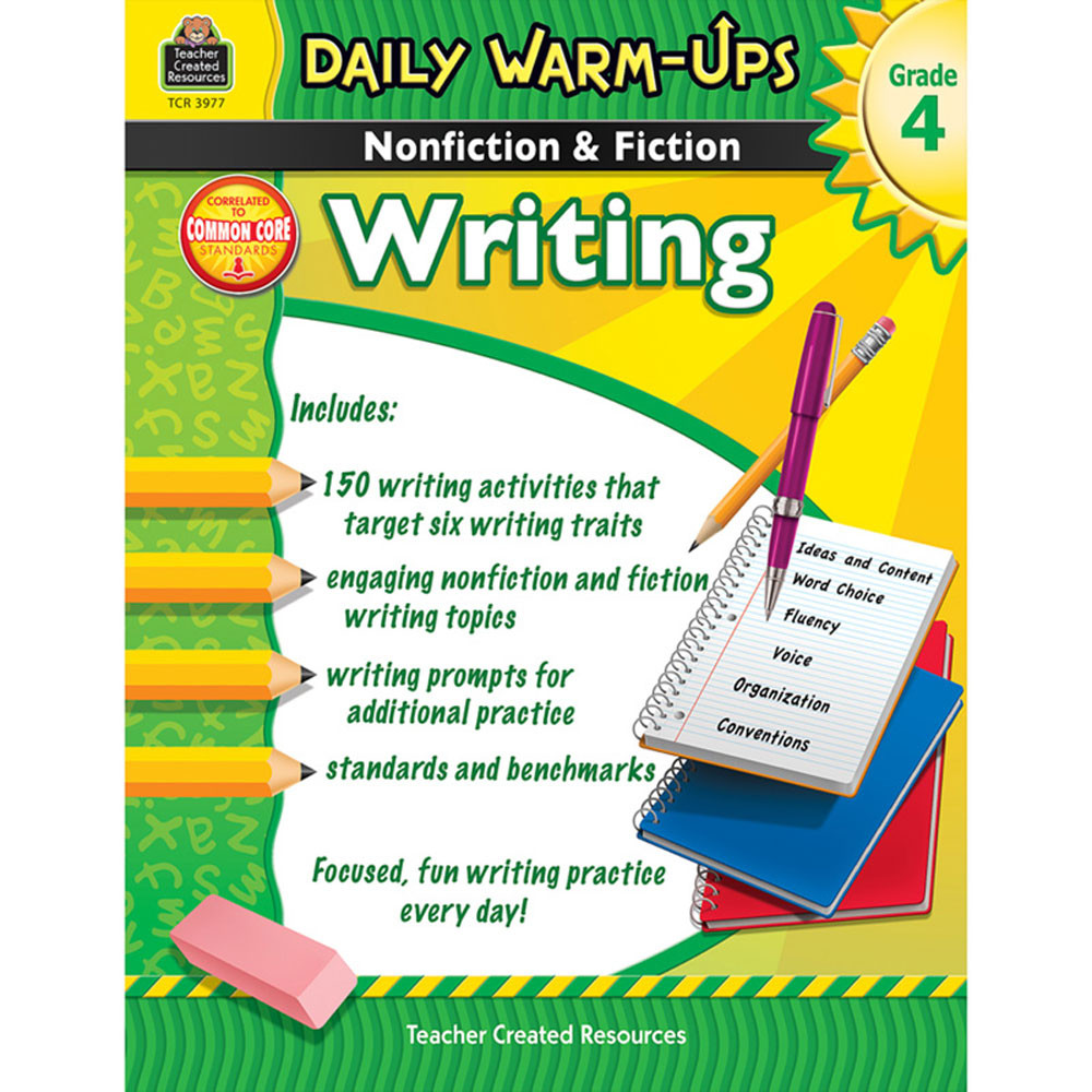 TCR3977 - Daily Warm Ups Gr 4 Nonfiction & Fiction Writing Book in Writing Skills