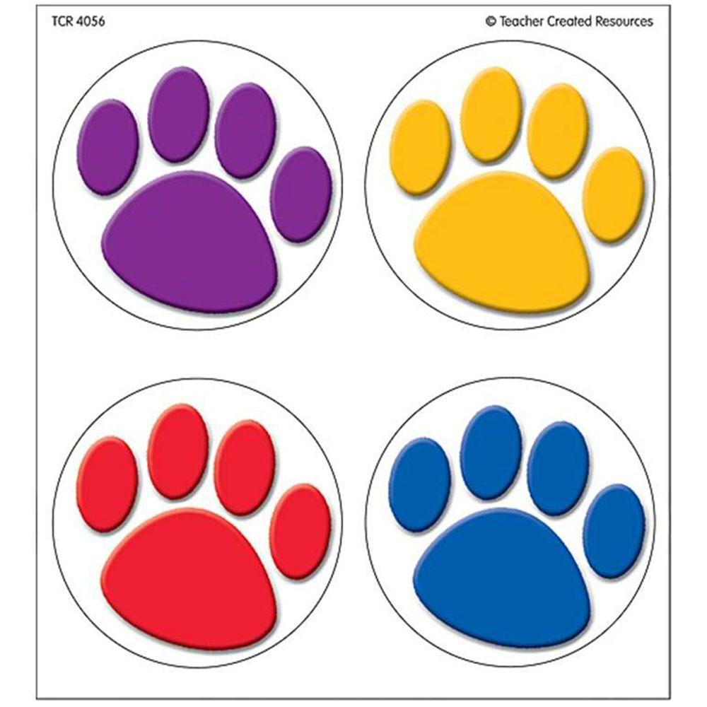 TCR4056 - Colorful Paw Prints Wear Em Badges in Badges