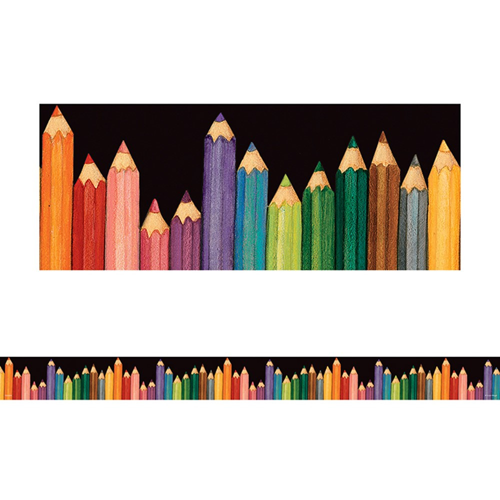 TCR4060 - Susan Winget Colorful Pencils Straight Border Trim in Border/trimmer