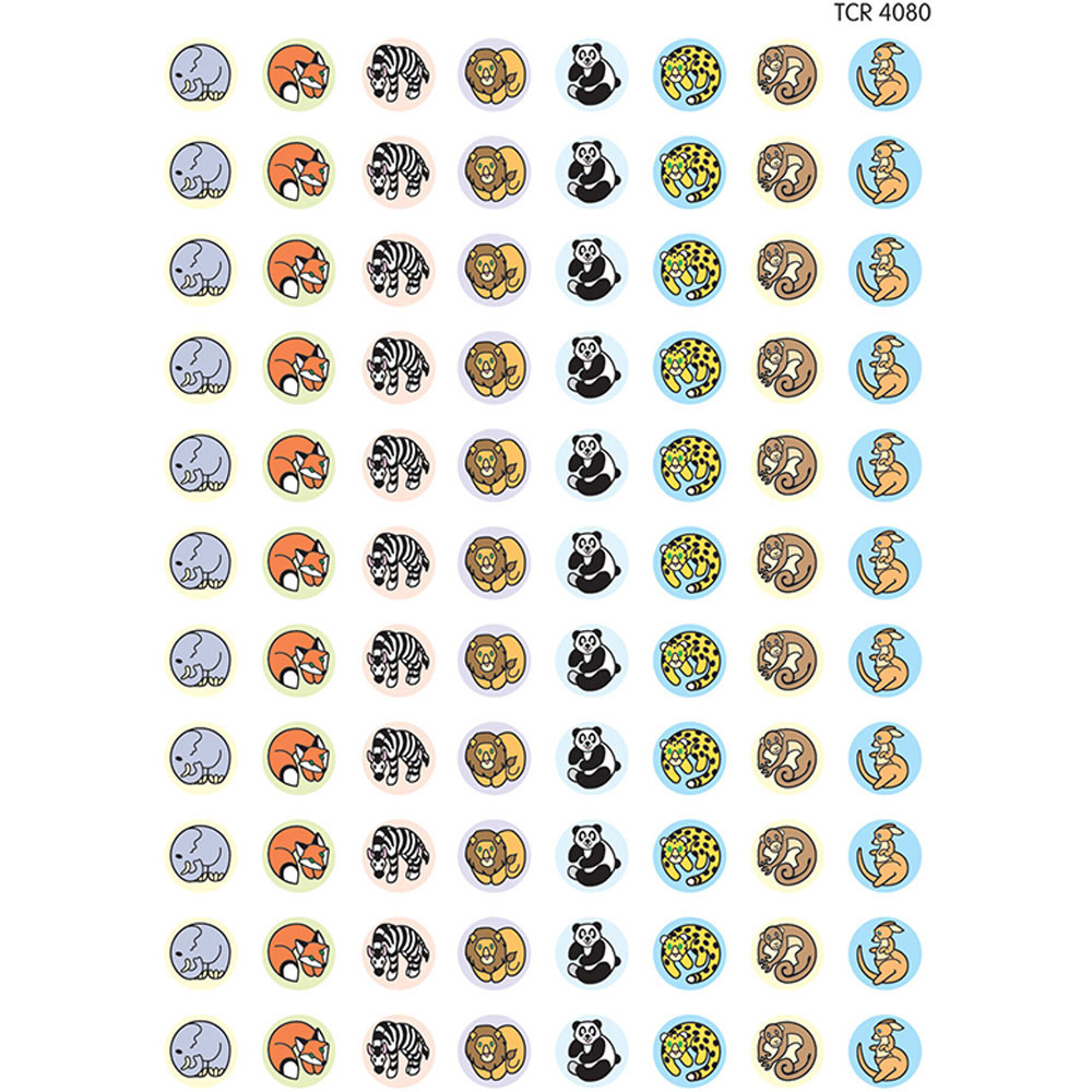 TCR4080 - Zoo Animals Mini Stickers in Stickers