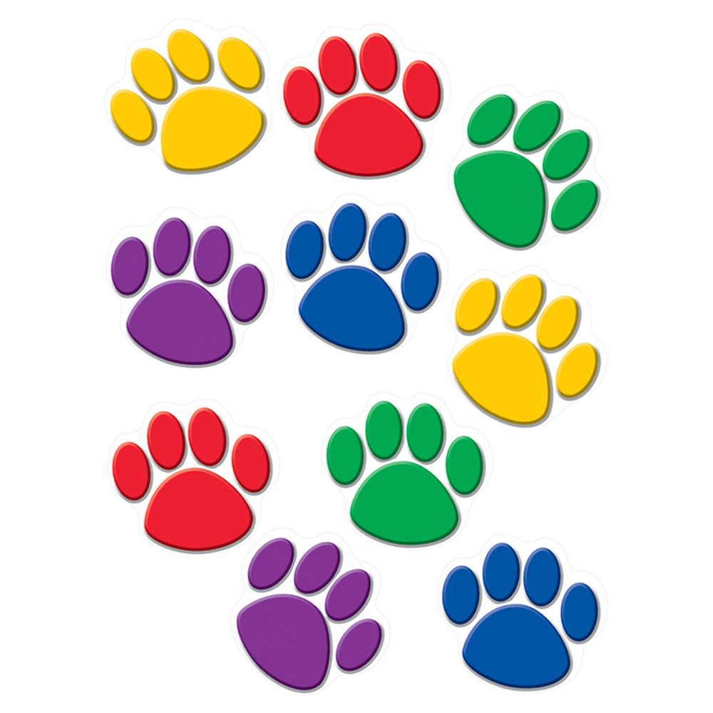 TCR4114 - Accents Colorful Paw Prints in Accents