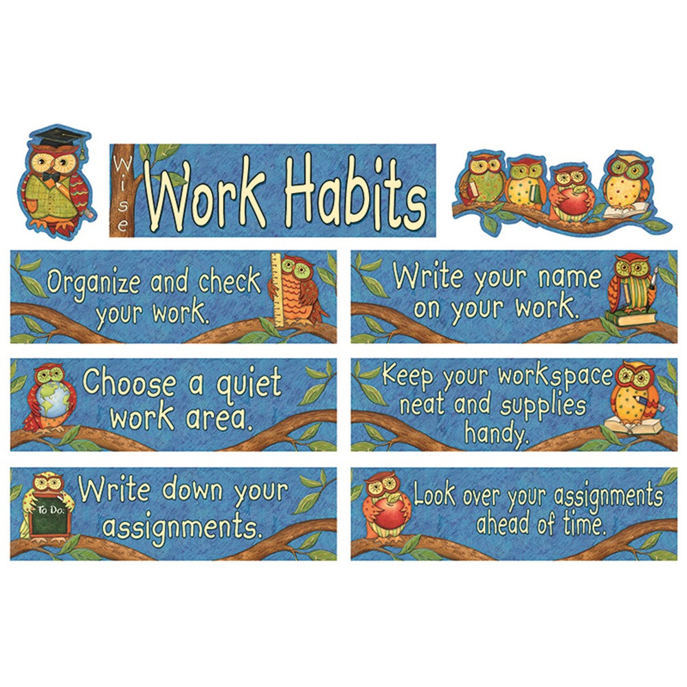 TCR4298 - Susan Winget Wise Work Habits Mini Bulletin Board Set in Miscellaneous