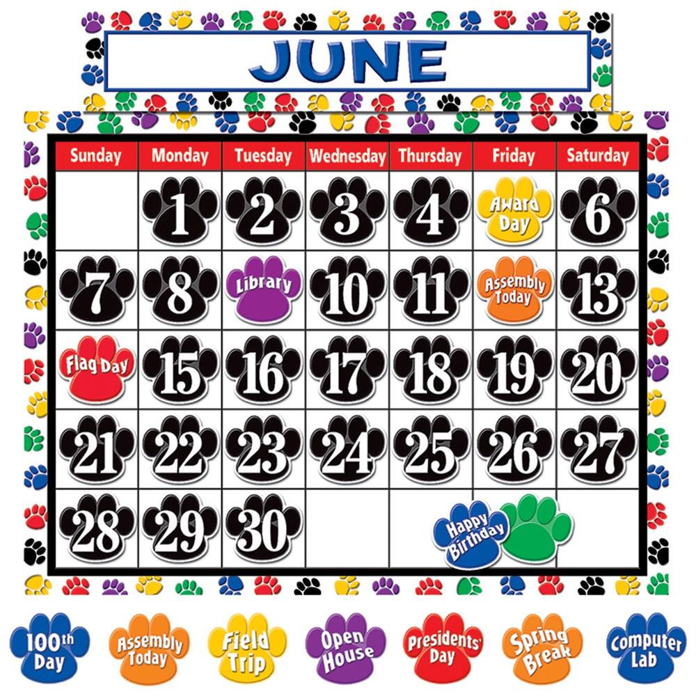 TCR4328 - Colorful Paw Prints Calendar Bulletin Board Set in Calendars