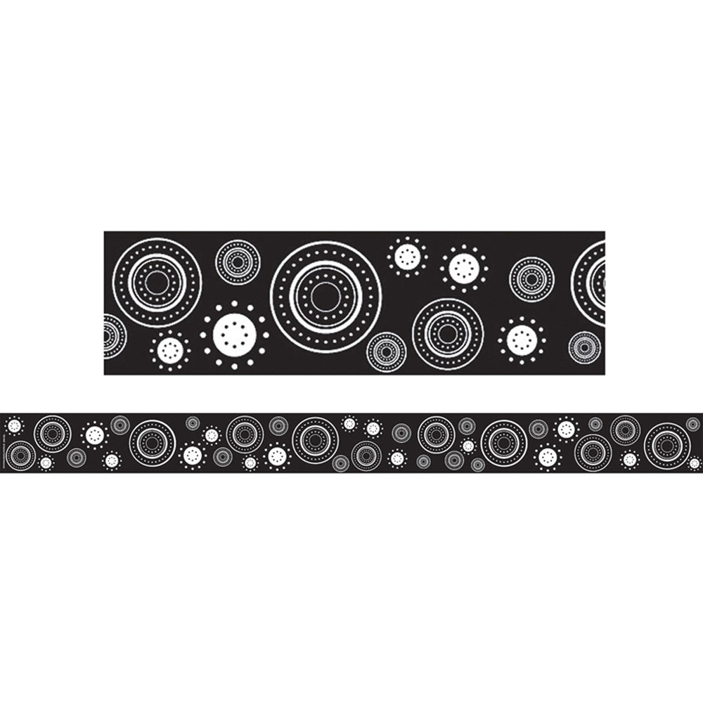 TCR4529 - Black/White Crazy Circles Straight Border Trim in Border/trimmer