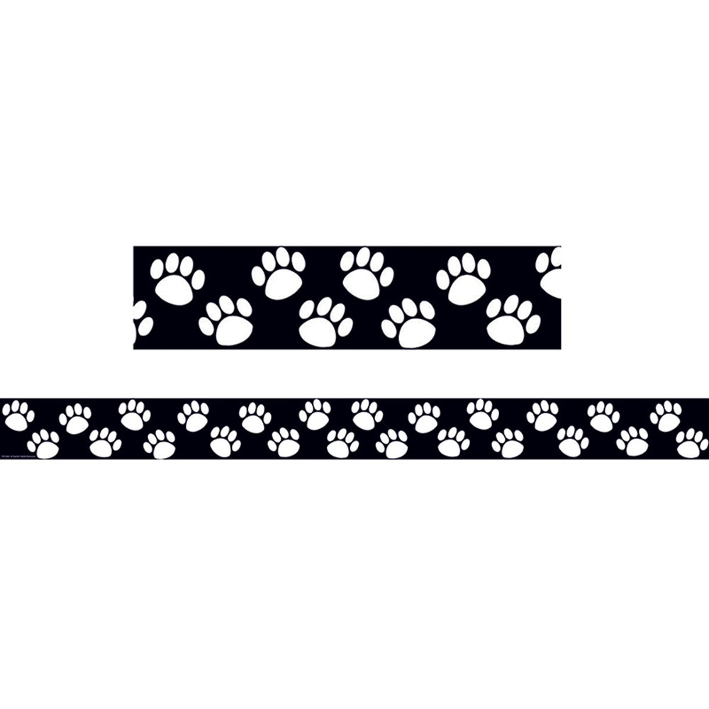 TCR4642 - Black With White Paw Prints Border Trim in Border/trimmer