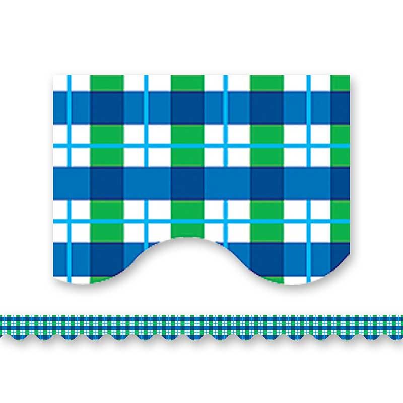 TCR4687 - Blue Green Plaid Border Trim in Border/trimmer