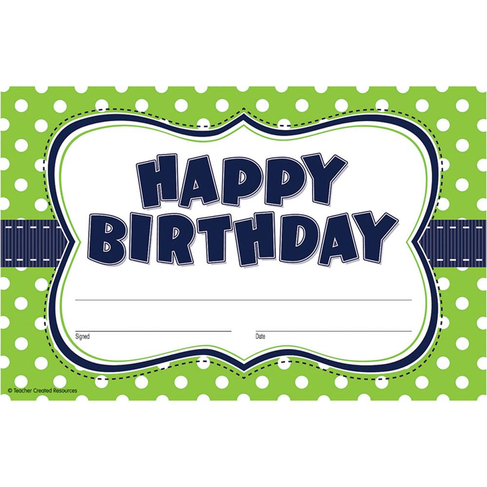 TCR4771 - Lime Polka Dots Happy Birthday Awards in Awards