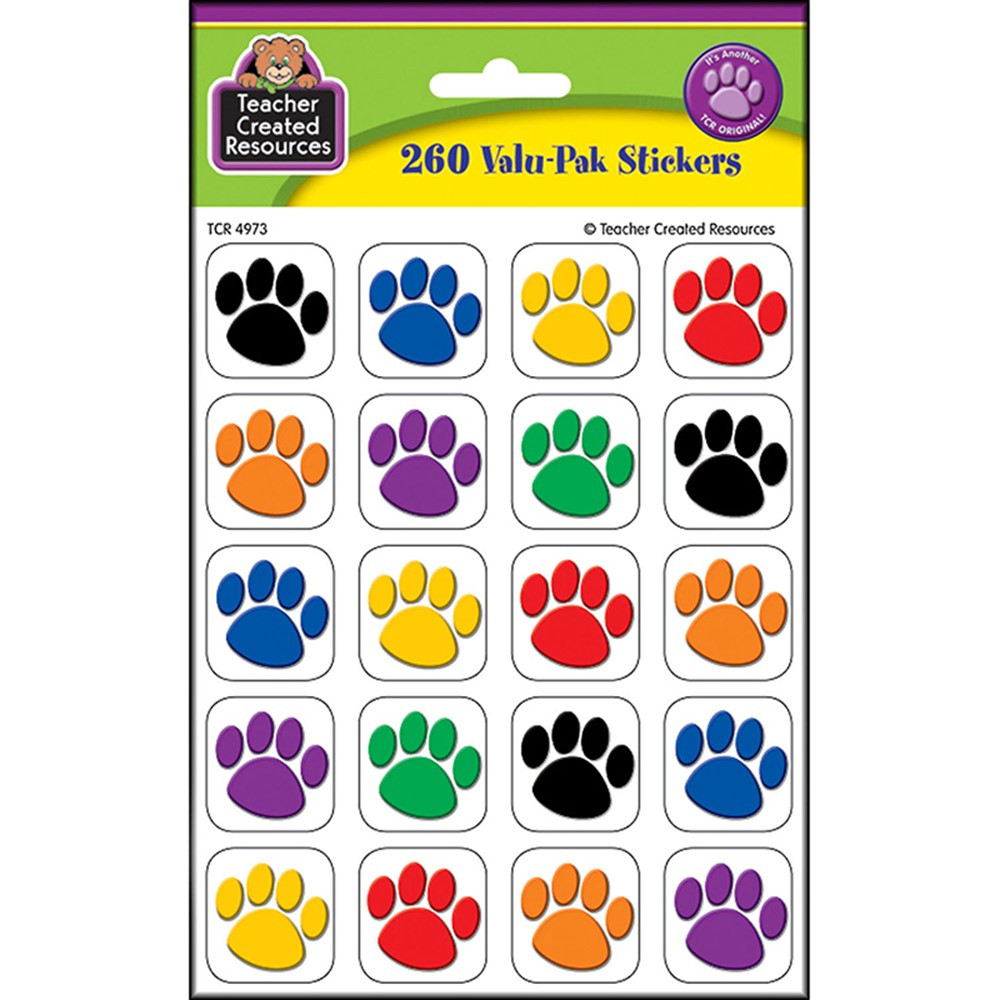 TCR4973 - Colorful Paw Print Stickers Value Pack in Stickers