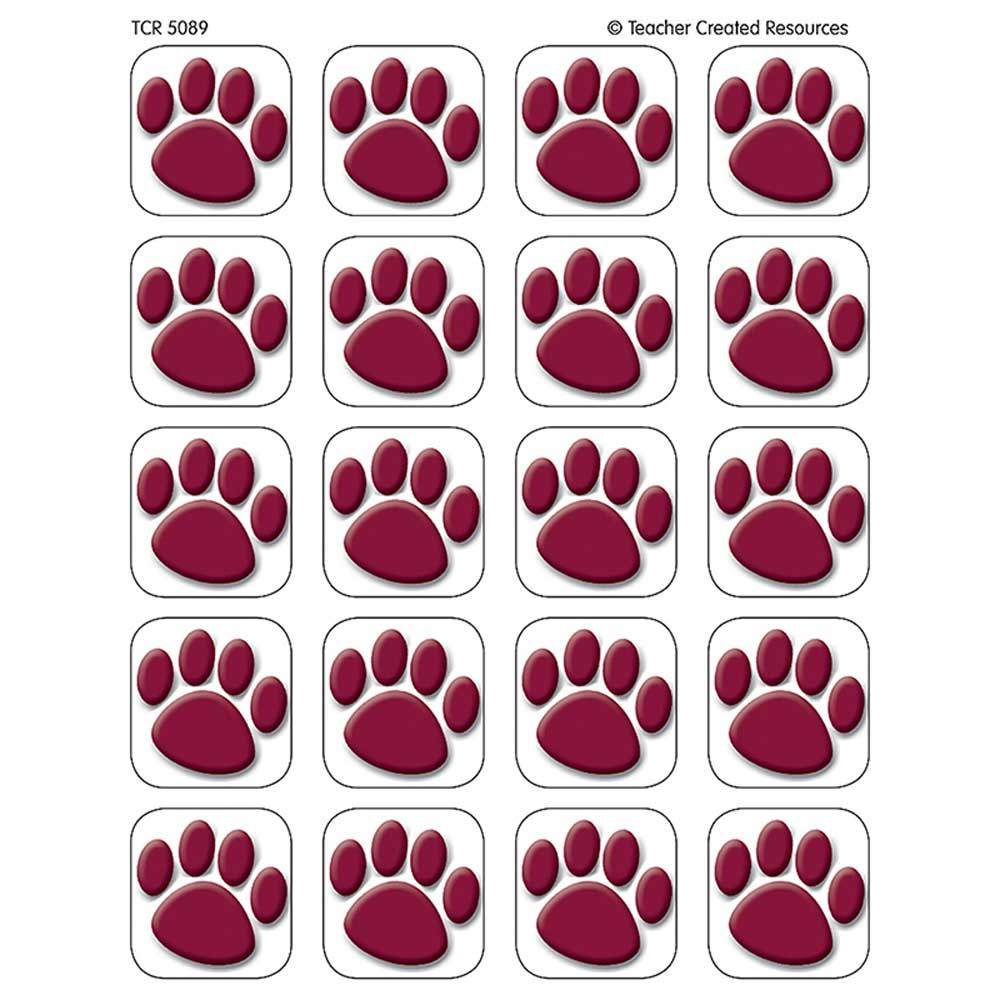 TCR5089 - Maroon Paw Prints Stickers in Stickers