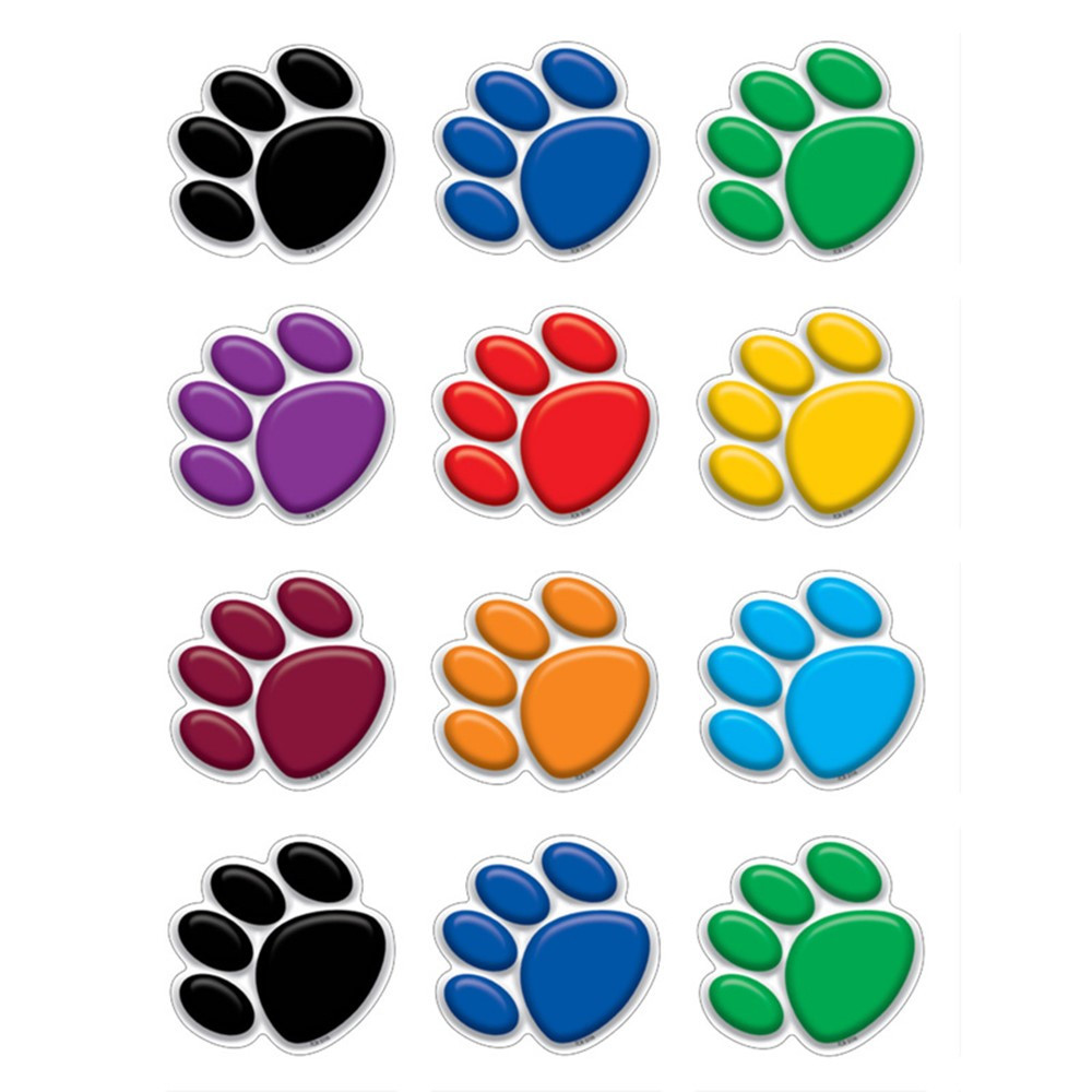TCR5116 - Colorful Paw Prints Mini Accents in Accents