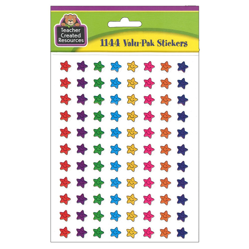 TCR5141 - Smiley Stars Mini Stickers Valu Pk 1144 Header in Stickers