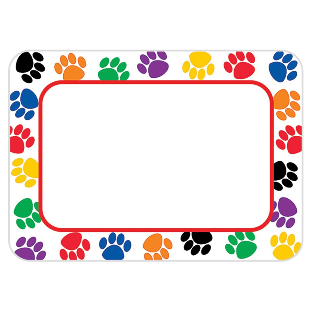 TCR5168 - Colorful Paw Prints Name Tags Labels in Name Tags