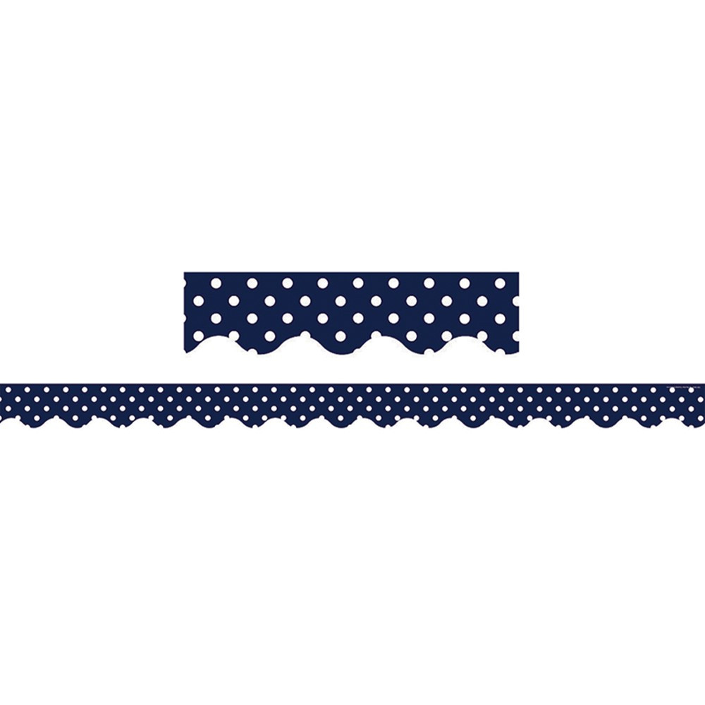 TCR5432 - Navy Polka Dots Scalloped Border Trim in Border/trimmer
