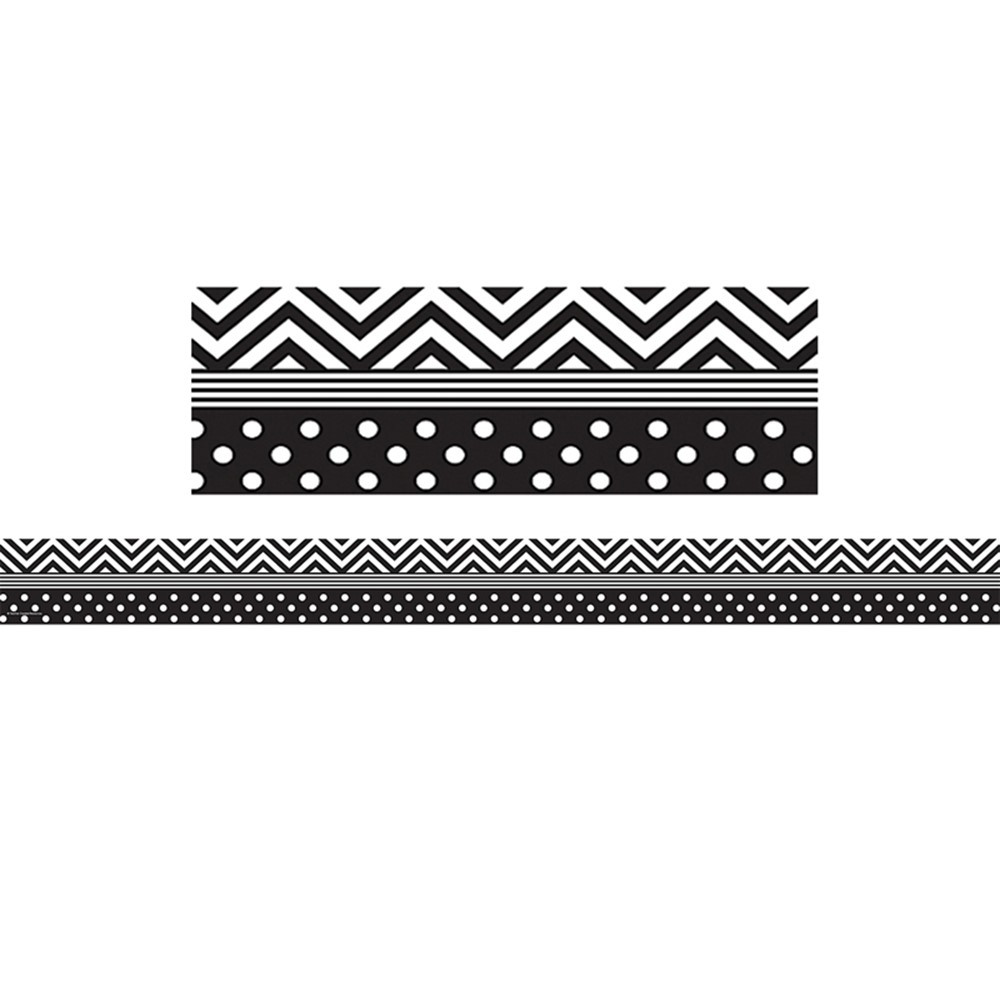 TCR5543 - Black & White Chevron And Dots Trim Straight Border in Border/trimmer