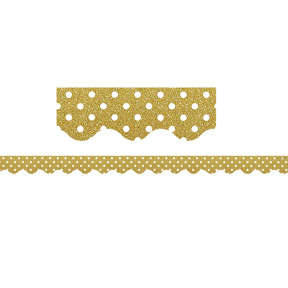 TCR5610 - Gold Plka Dot Scalloped Border Trim Confetti in Border/trimmer