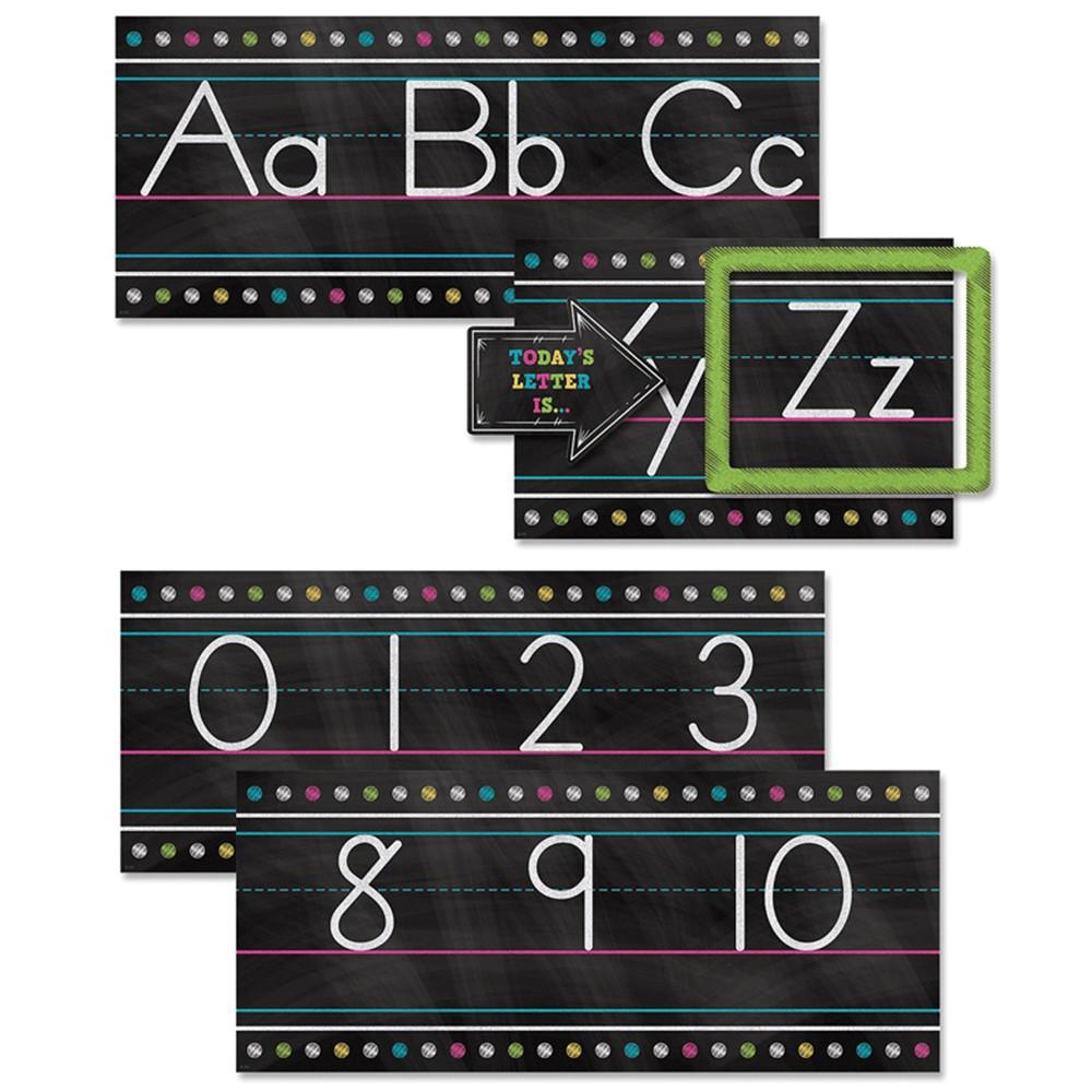 TCR5621 - Chalkboard Brights Alphabet Line Bulletin Board Set in Language Arts