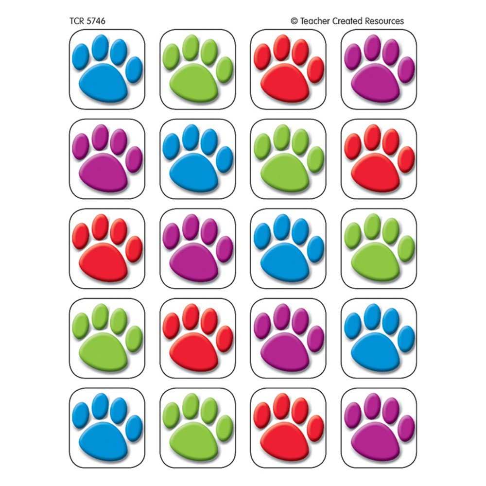 TCR5746 - Colorful Paw Prints 120 Stickers in Stickers