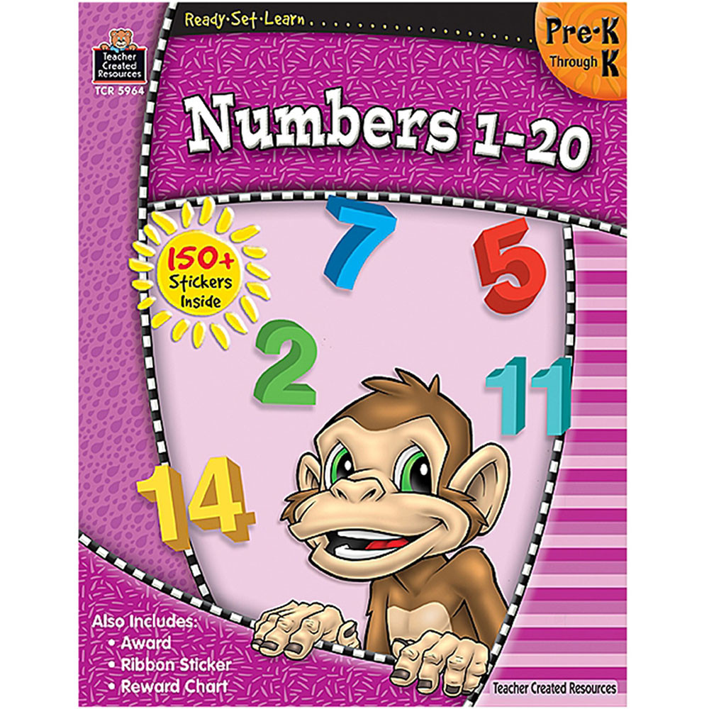 TCR5964 - Ready Set Learn Numbers 1-20 Pk-K in Numeration