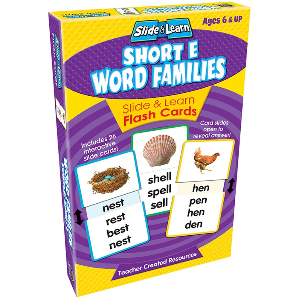 TCR6558 - Vowels Short E Word Families Slide & Learn Flash Cards in Phonics