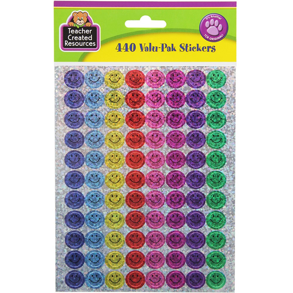 TCR6631 - Mini Happy Faces Sparkle Stickers Valu-Pak in Stickers