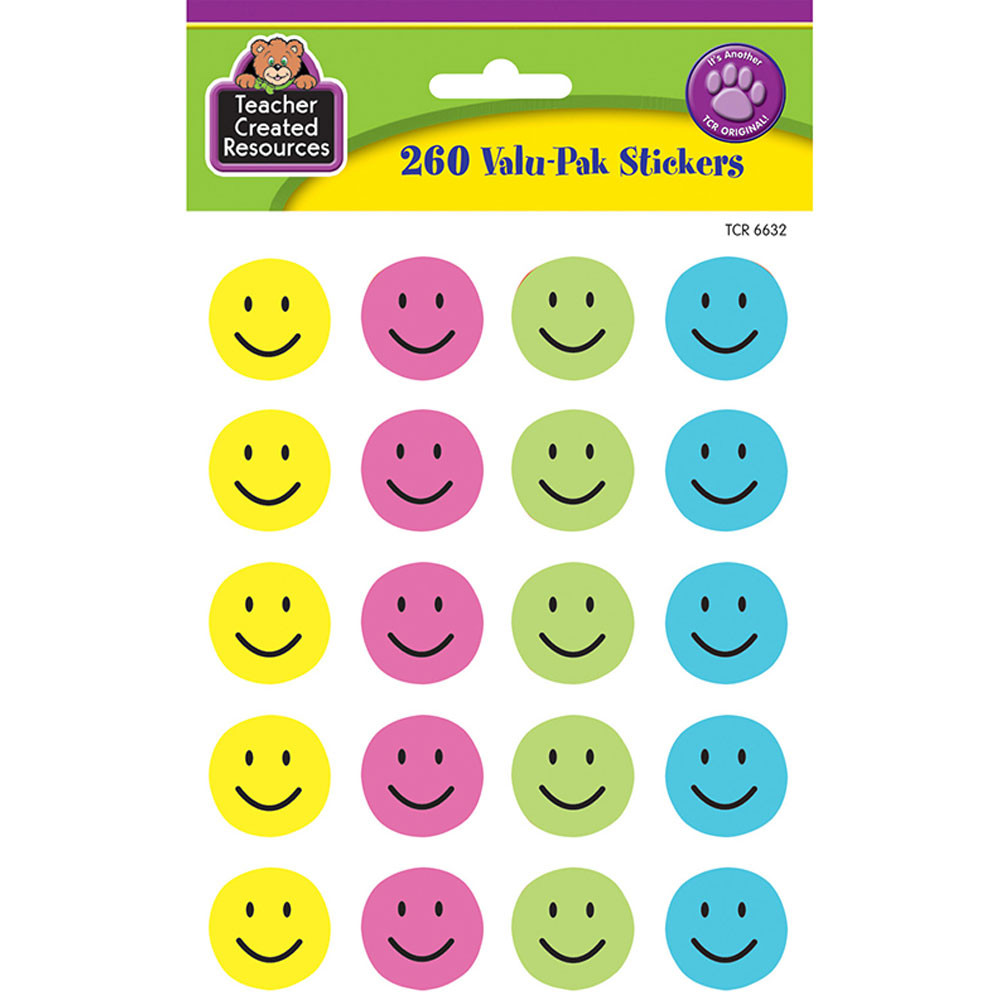TCR6632 - Happy Face Valu-Pak Stickers in Stickers