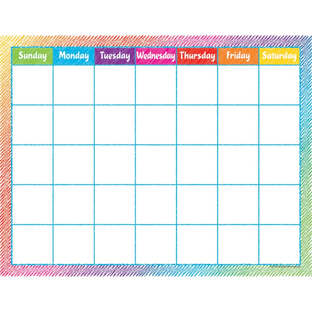 TCR7525 - Colorful Scribble Calendar Chart in Calendars